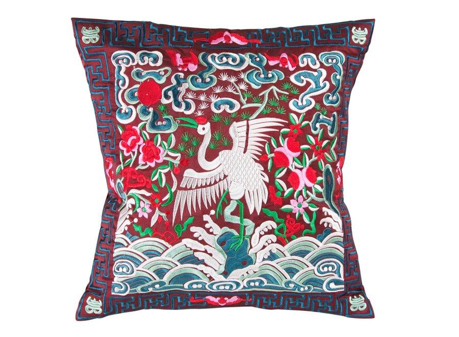 Chinesisches Kissen Handbestickt Burgunderrot Kranich 40x40cm