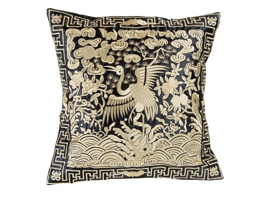 Chinesisches Kissen Handbestickt Gold Kranich 40x40cm