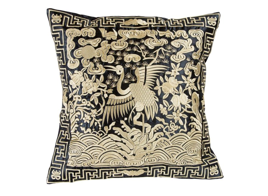 Fine Asianliving Chinesisches Kissen Handbestickt Gold Kranich 40x40cm