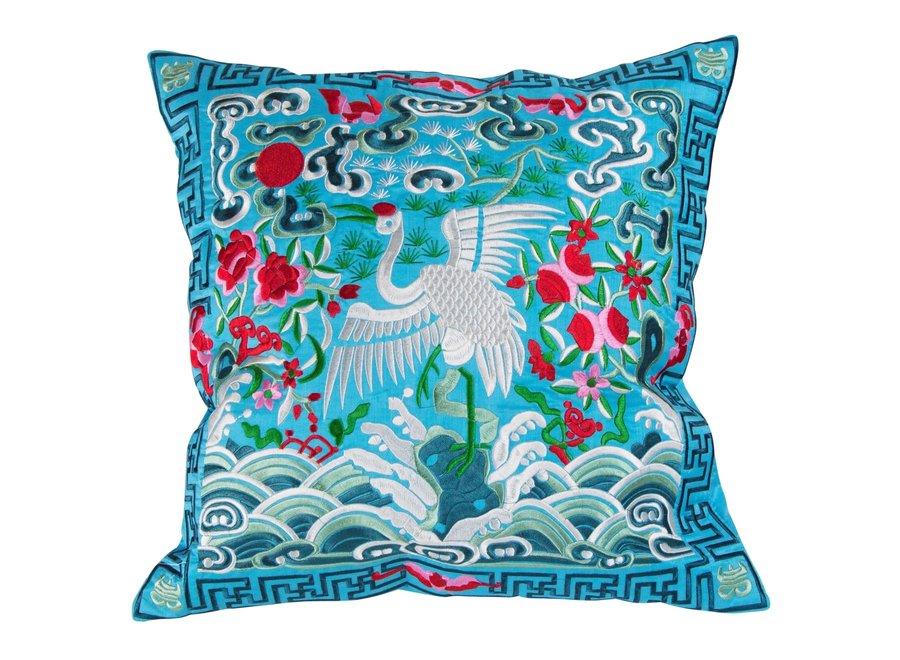 Fine Asianliving Chinesisches Kissen Handbestickt Blau Kranich 40x40cm