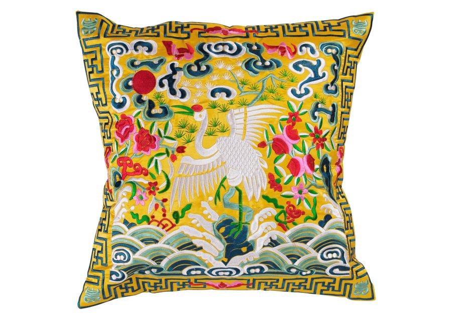 Fine Asianliving Chinesisches Kissen Handbestickt Gelb Kranich 40x40cm
