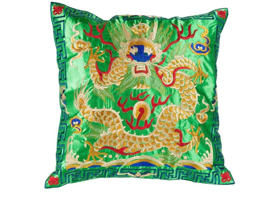 Fine Asianliving Kissenbezug Handbestickt Grün Gelb Drache 40x40cm ohne Füllung