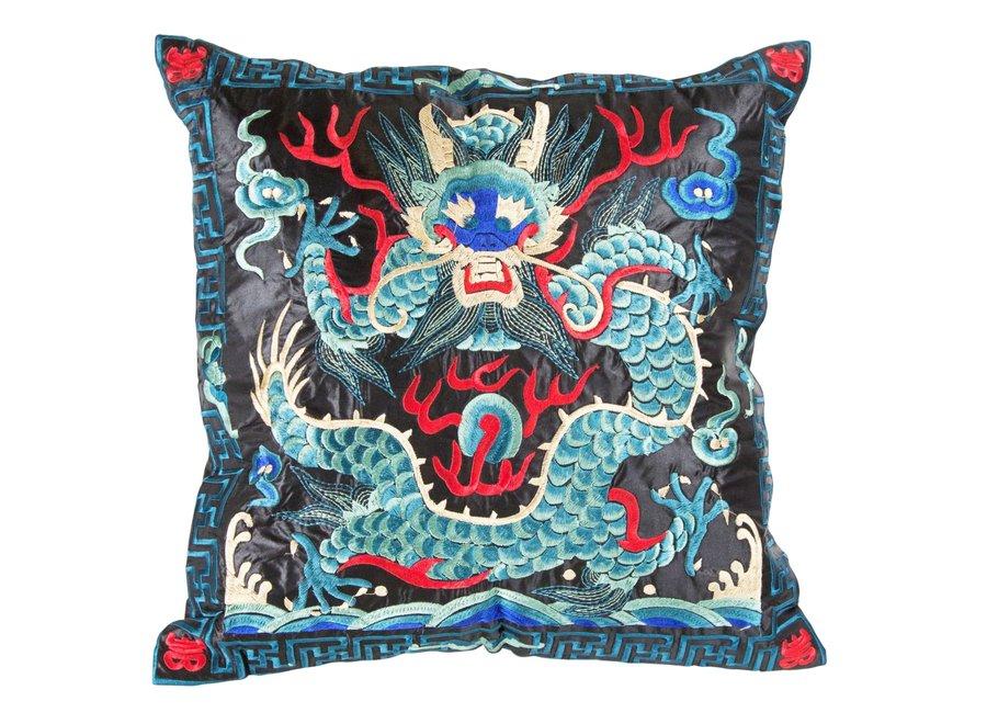 Chinesisches Kissen Handbestickt Blau Schwarz Drache 40x40cm