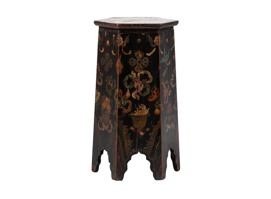 Antiker Tibetanischer Pflanzentisch Blümentisch Handbemalte Drachen B45xT45xH81cm