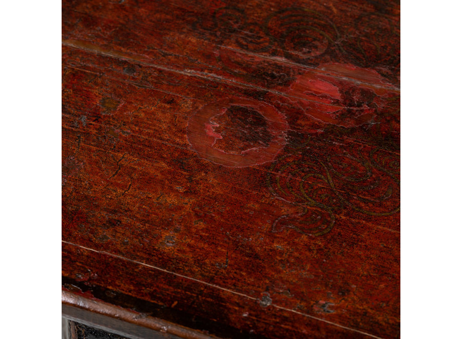 Fine Asianliving Antiker Tibetanischer Pflanzentisch Blümentisch Handbemalte Drachen B45xT45xH81cm