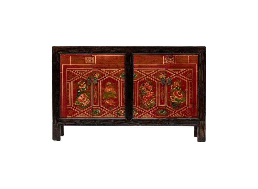 Fine Asianliving Antikes Chinesisches Sideboard Kommode Handbemalte Blumen B138xT37xH86cm