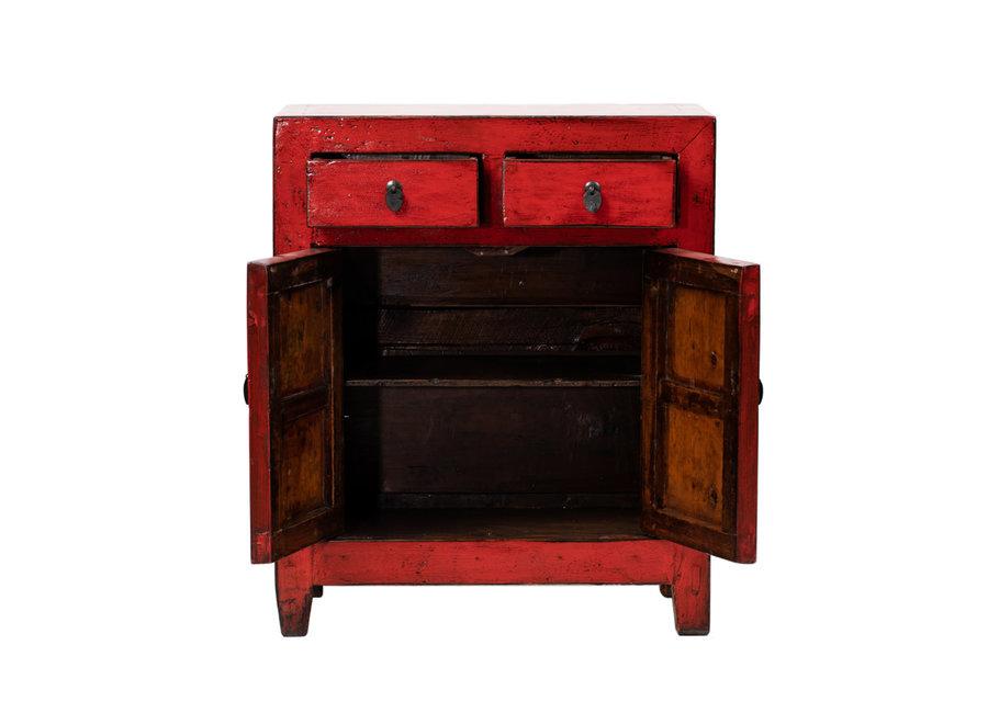 Fine Asianliving Antiker Chinesischer Schrank Glänzend Rot B76xT39xH92cm