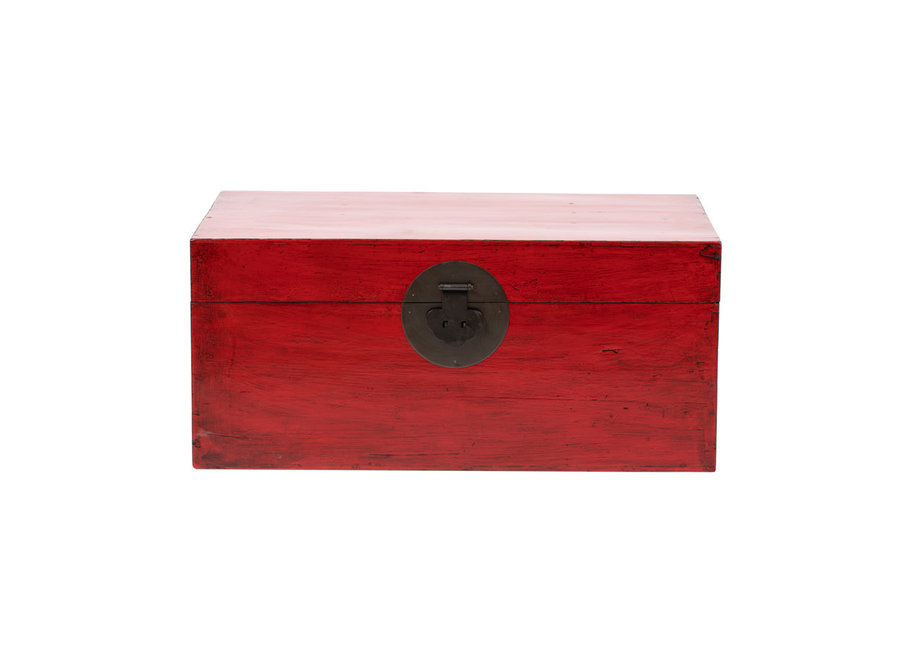 Antike Chinesische Truhe Glänzend Rot B88xT57xH40cm