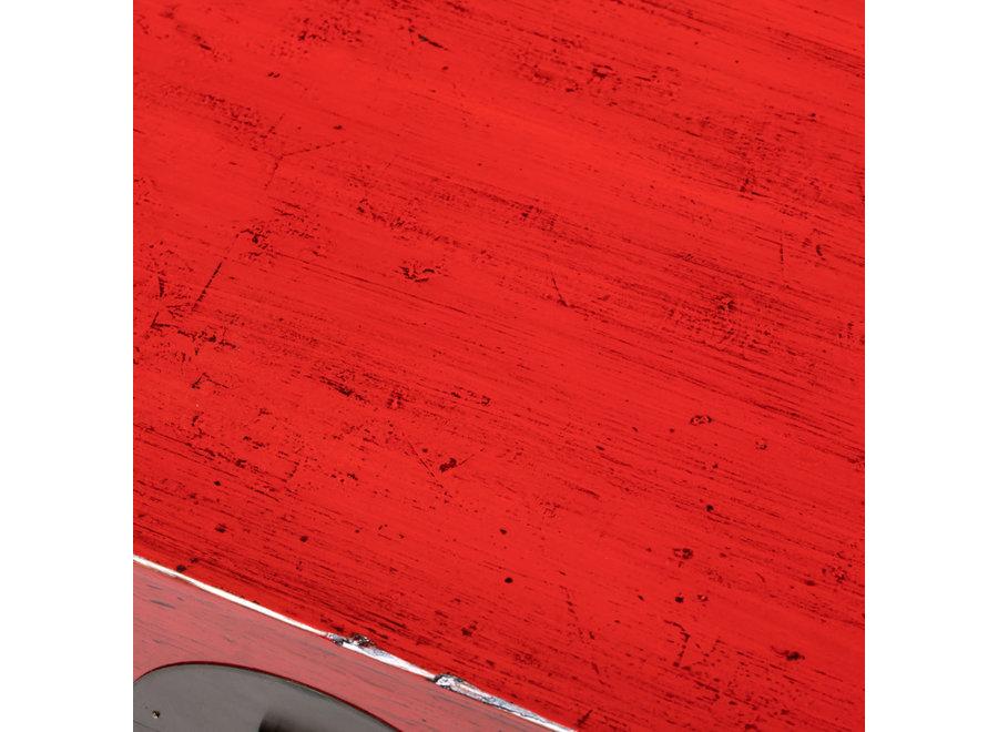 Fine Asianliving Antike Chinesische Truhe Glänzend Rot B88xT57xH40cm
