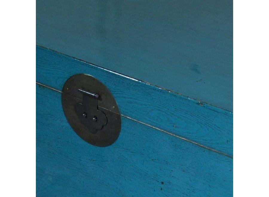 Fine Asianliving Antike Chinesische Truhe Glänzend Blau B95xT58xH43cm
