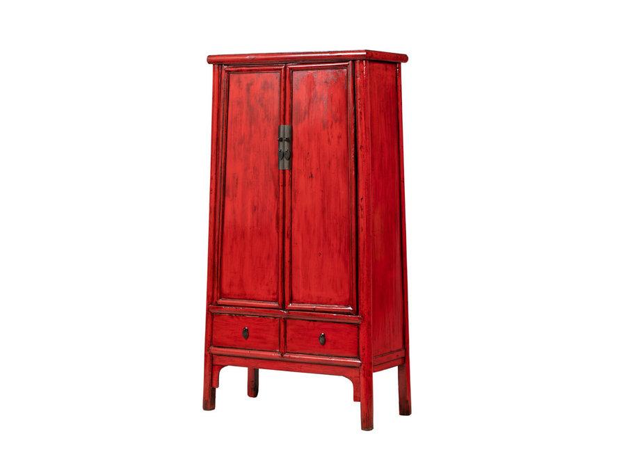 Fine Asianliving Antiker Chinesischer Schrank Glänzend Rot B98xT46xH183cm