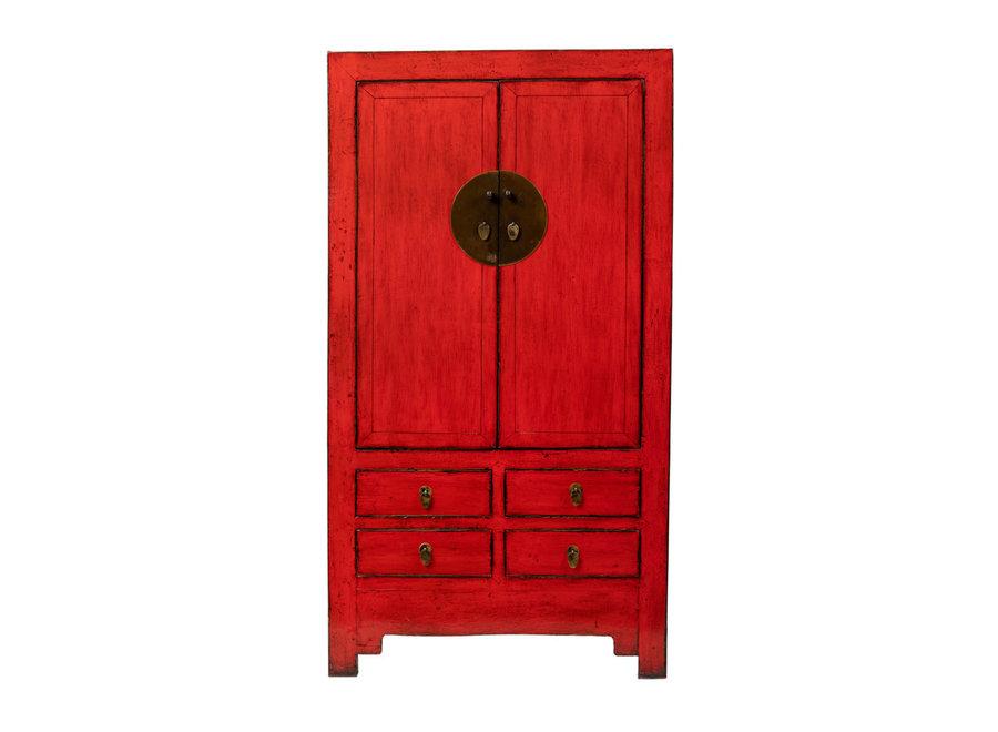 Antiker Chinesischer Hochzeitsschrank Glänzend Rot B109xT51xH198cm