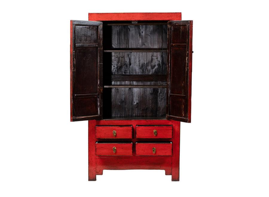 Fine Asianliving Antiker Chinesischer Hochzeitsschrank Glänzend Rot B109xT51xH198cm