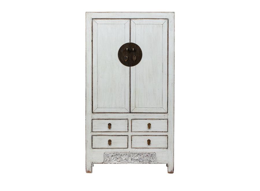 Fine Asianliving Antiker Chinesischer Hochzeitsschrank Glänzend Weiß B103xT53xH190cm