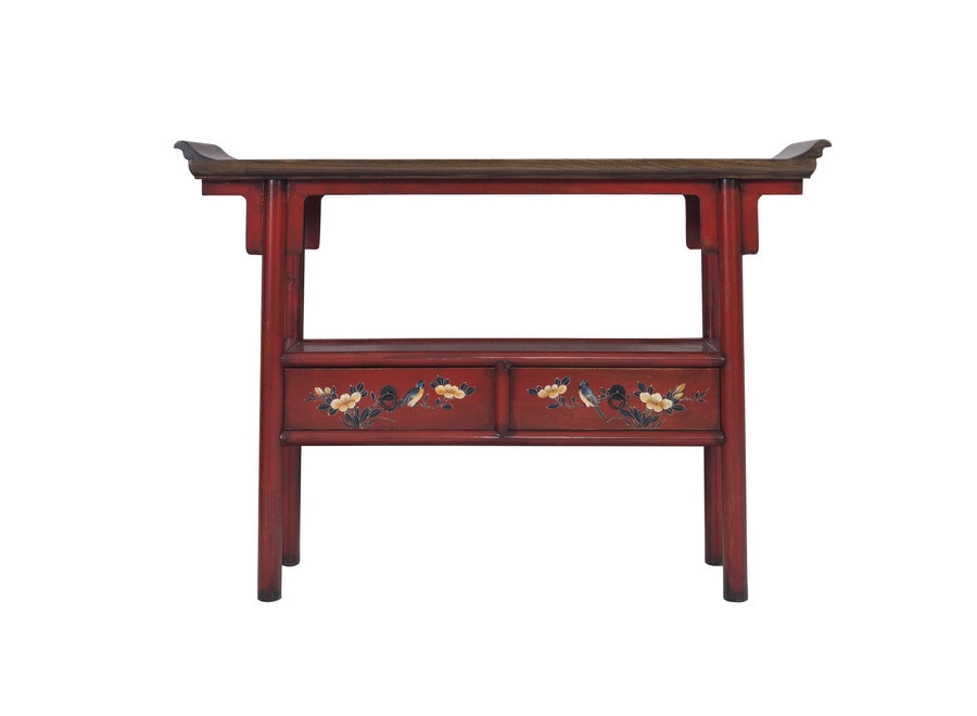 Fine Asianliving Chinesischer Konsolentisch Handbemalt Rot