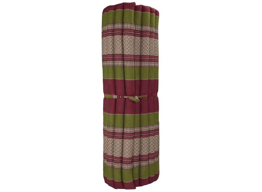 Thaimatte Rollbar Kapokfüllung 200x100x4.5cm Burgunder Grün