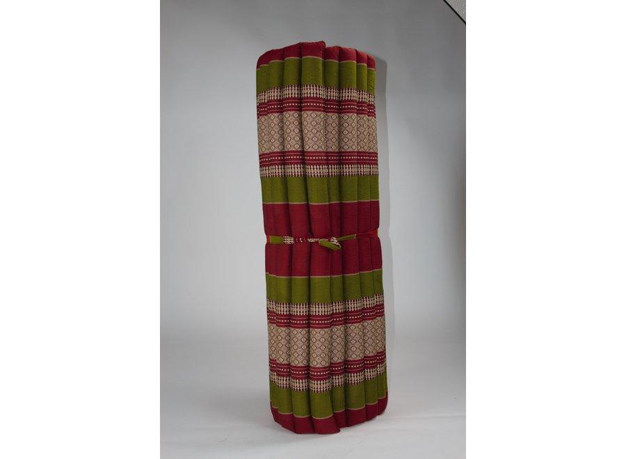 Fine Asianliving Thaimatte Rollbar Kapokfüllung 200x100x4.5cm Burgunder Grün