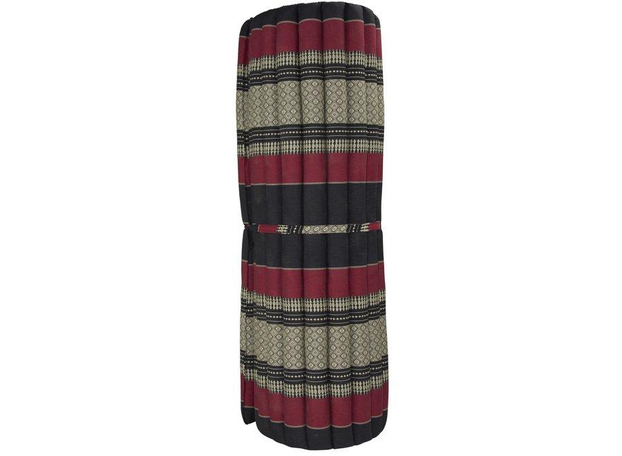 Fine Asianliving Thaimatte Rollbar Kapokfüllung 200x100x4.5cm Schwarz Rot