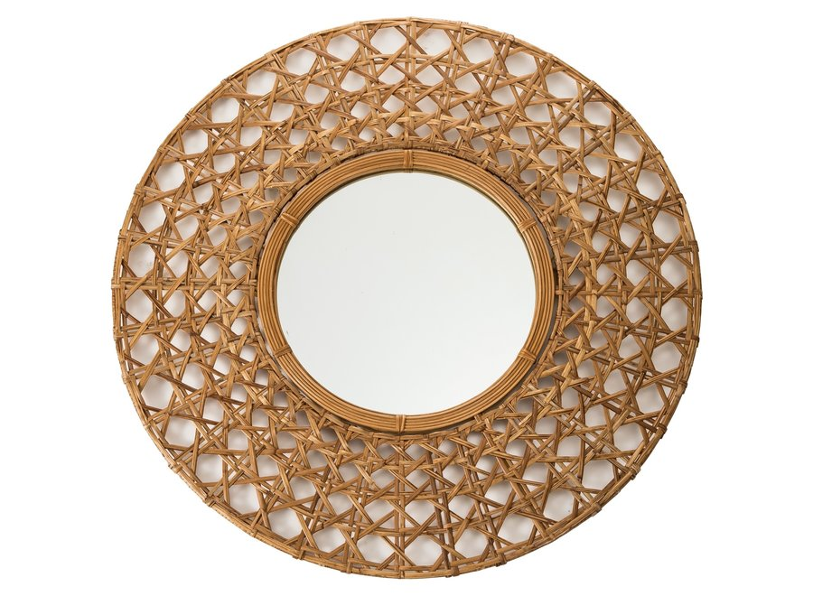 Fine Asianliving Wandspiegel Dekospiegel Rund Rahmen Handweaved Tapnigi D70cm