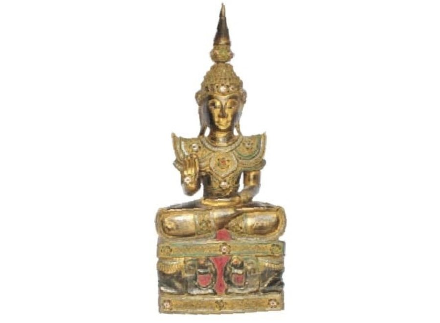 Fine Asianliving Iwa Royal Sitting Buddha on Elephant Base Black Gold Handmade from Solid Tree Trunk L45xW32xH75cm