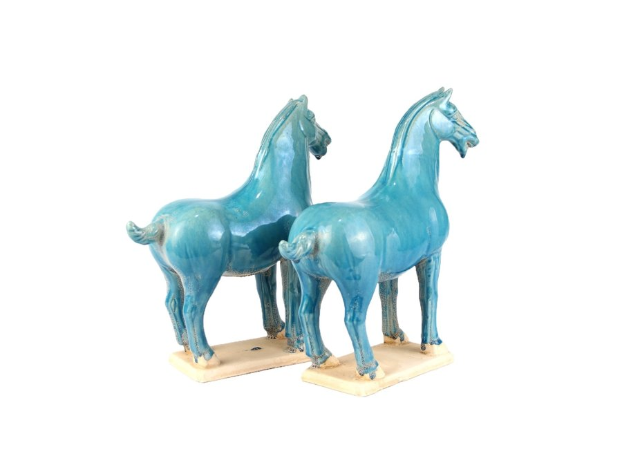 Fine Asianliving Chinese Horse Tang Dynasty Terracotta Pottery Handmade Blue Set/2