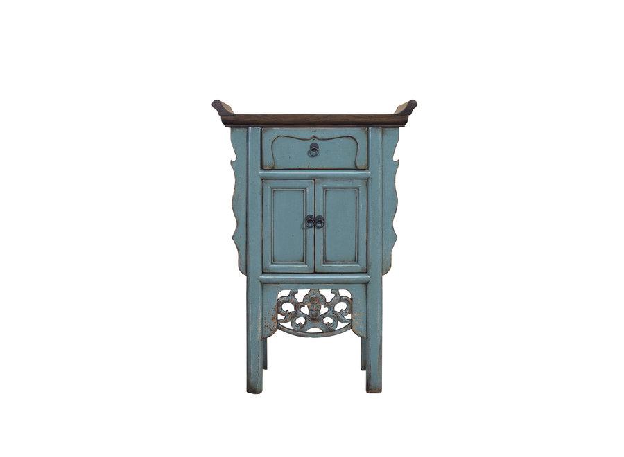 Fine Asianliving Chinesischer Konsolentisch Blaugrau Handgefertigt B58xT35xH84cm