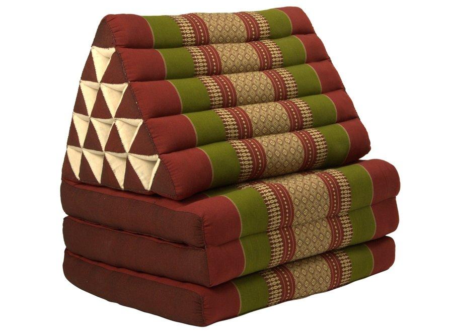 Fine Asianliving Thaikissen Dreieckskissen 3 Auflagen Kapokfüllung XL Burgunderrot Grün