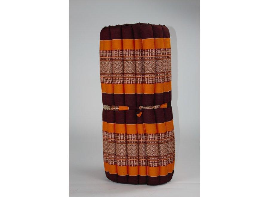 Fine Asianliving Thaimatte Rollbar Kapokfüllung 190x78x4.5cm Burgund orange