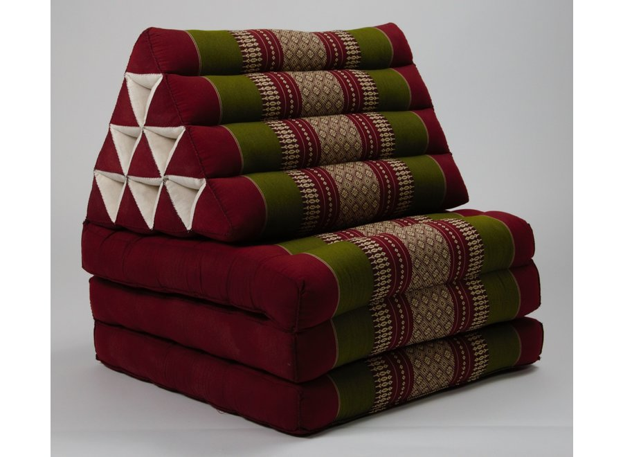 Fine Asianliving Thaikissen Dreieckskissen 3 Auflagen Kapokfüllung Burgunder Grün