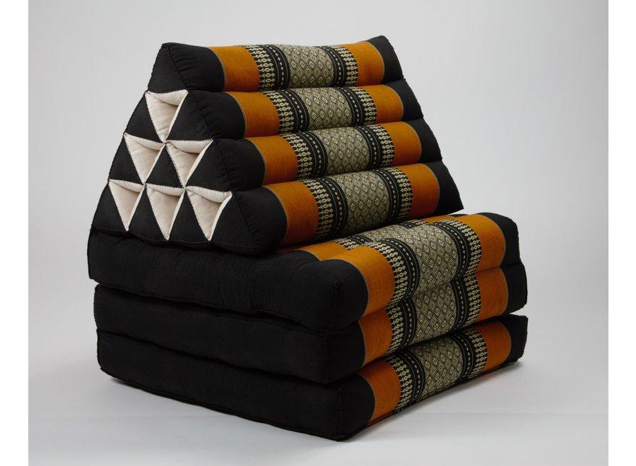 Fine Asianliving Thaikissen Dreieckskissen 3 Auflagen Kapokfüllung Schwarz Orange