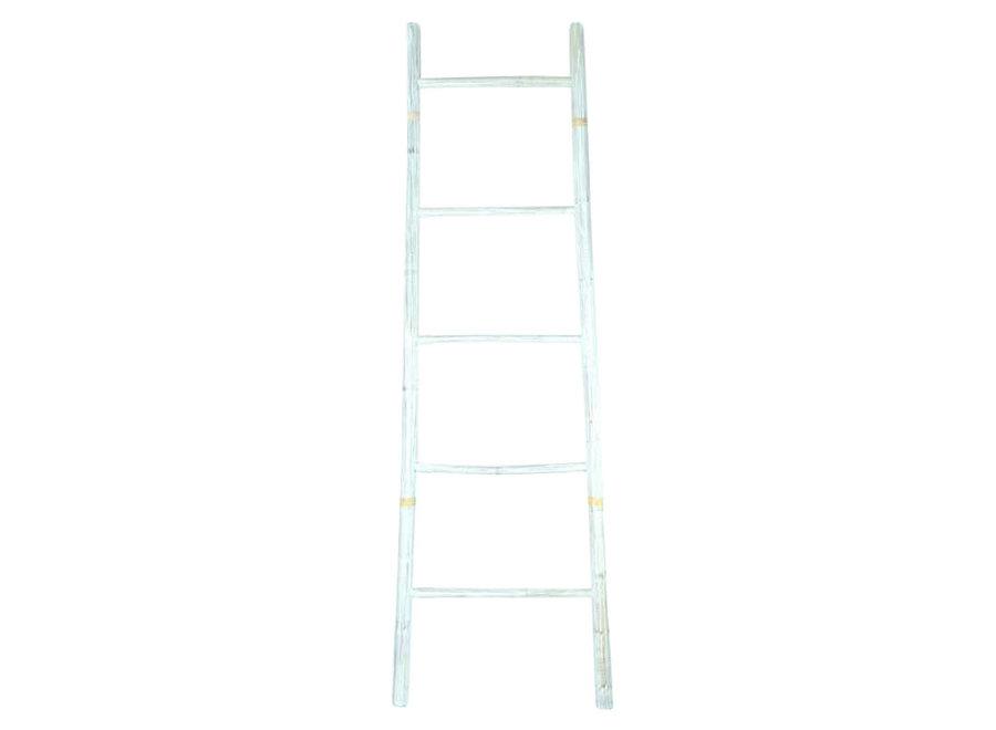 Bamboo Ladder White 45x150cm Handmade in Thailand