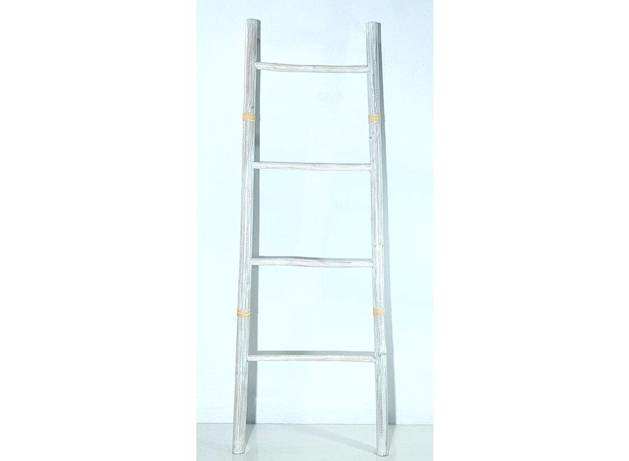 Fine Asianliving Bamboo Ladder White 45x150cm Handmade in Thailand