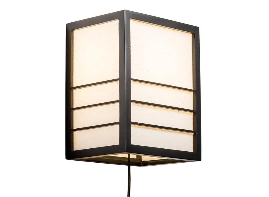 Fine Asianliving Japanische Wandleuchte Holz und Shoji Reispapier Schwarz - Nikko B20xT15xH25cm