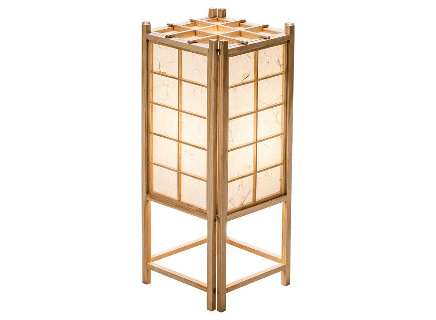 Fine Asianliving Japanische Lampe Holz und Shoji Reispapier Natur - Tatamilite B19xT19xH45.5cm