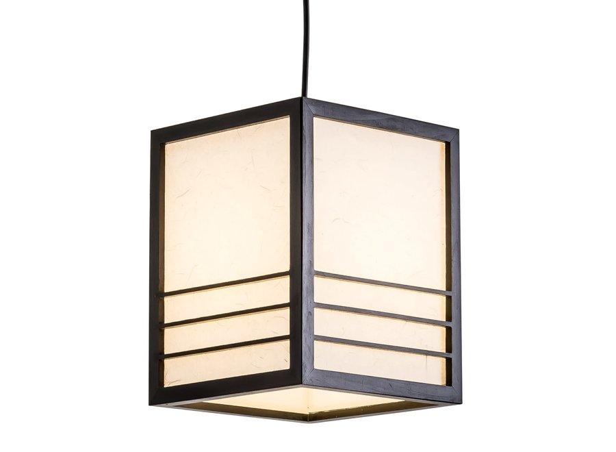 Japanische Lampe Holz Shoji Reispapier Schwarz - Nikko B20xT20xH25.5cm