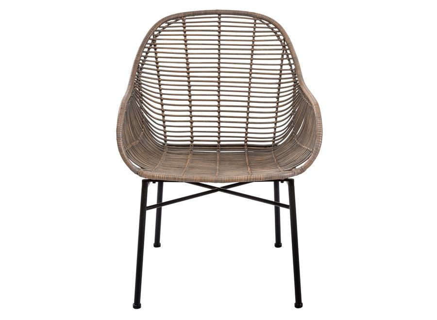 Fine Asianliving Lounge Chair Sogod Wicker Weaved Metal Frame 60x64xH79cm