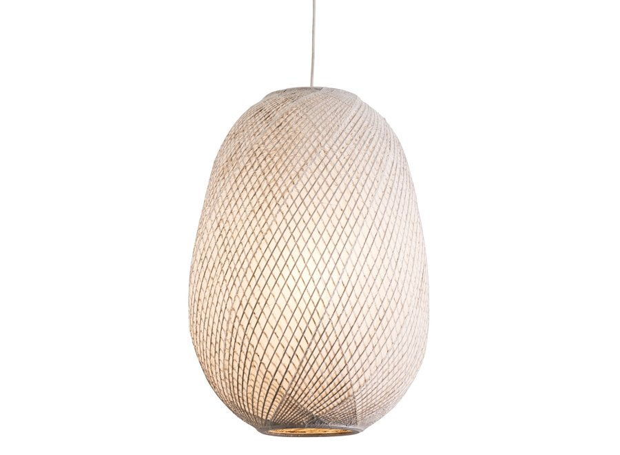 Fine Asianliving Pendelleuchte Hängelampe Bambus mit Reispapier - Gallina Uno D44xH60cm