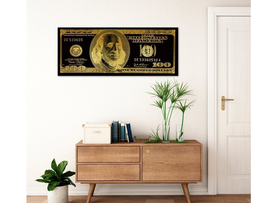 Fine Asianliving Dollar Note Black Gold Digitalprint W150xH60cm Mirror