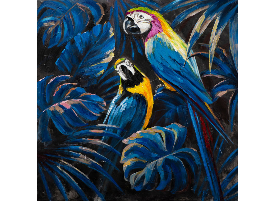 Fine Asianliving Wall Art Canvas Print 100x100cm Blue Parrots in Love Hand Embellished Giclee Handmade