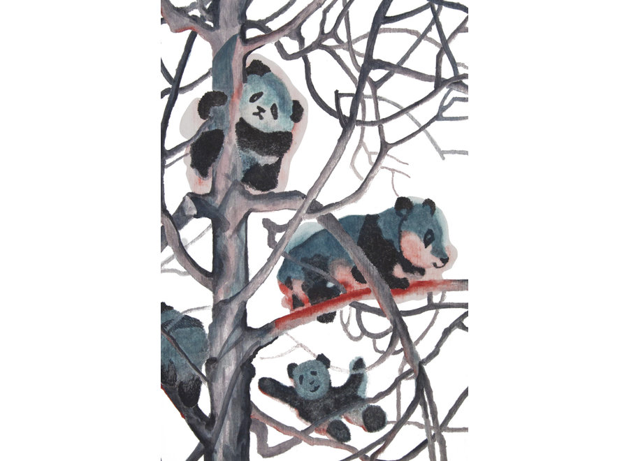 Fine Asianliving Oil Painting 100% Handmade Chinese Pandas in Trees 70x120cm