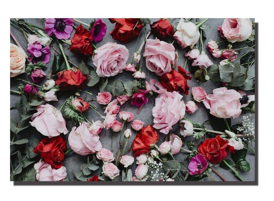Wall Art Canvas Print 120x80cm Roses Garden Hand Embellished Giclee Handmade
