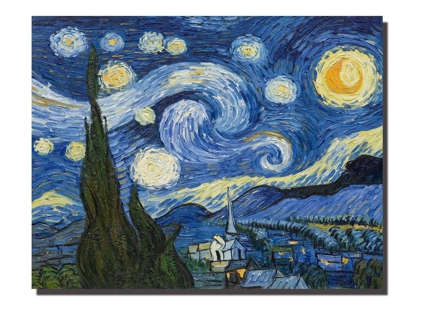 Wall Art Canvas Print 70x90cm Starry Night van Gogh Hand Embellished Giclee Handmade