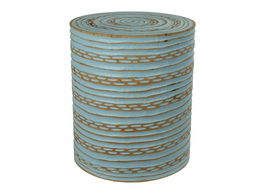 Fine Asianliving Hocker aus Mango Holz Hergestellt in Thailand Blau