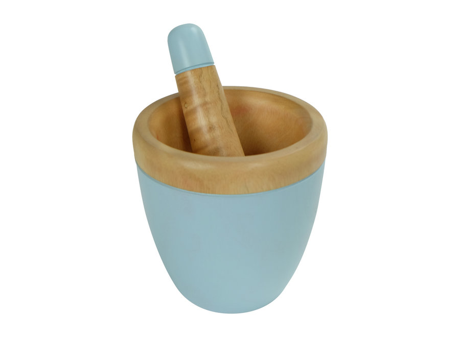 Fine Asianliving Mortar Set/2 Mangowood Handmade in Thailand Blue