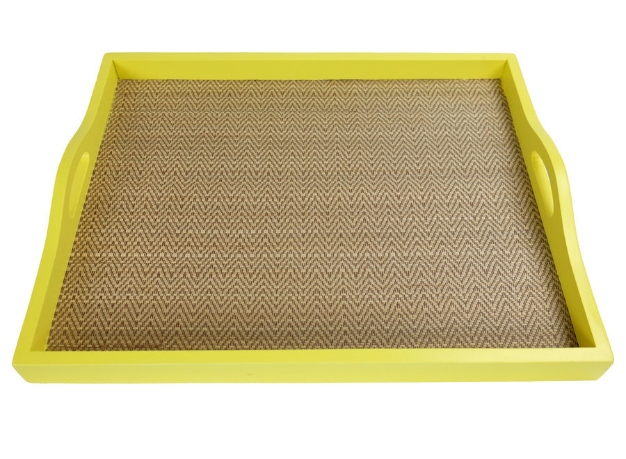 Fine Asianliving Mangowood Decorative Tray Bamboo Handmade in Thailand Yellow