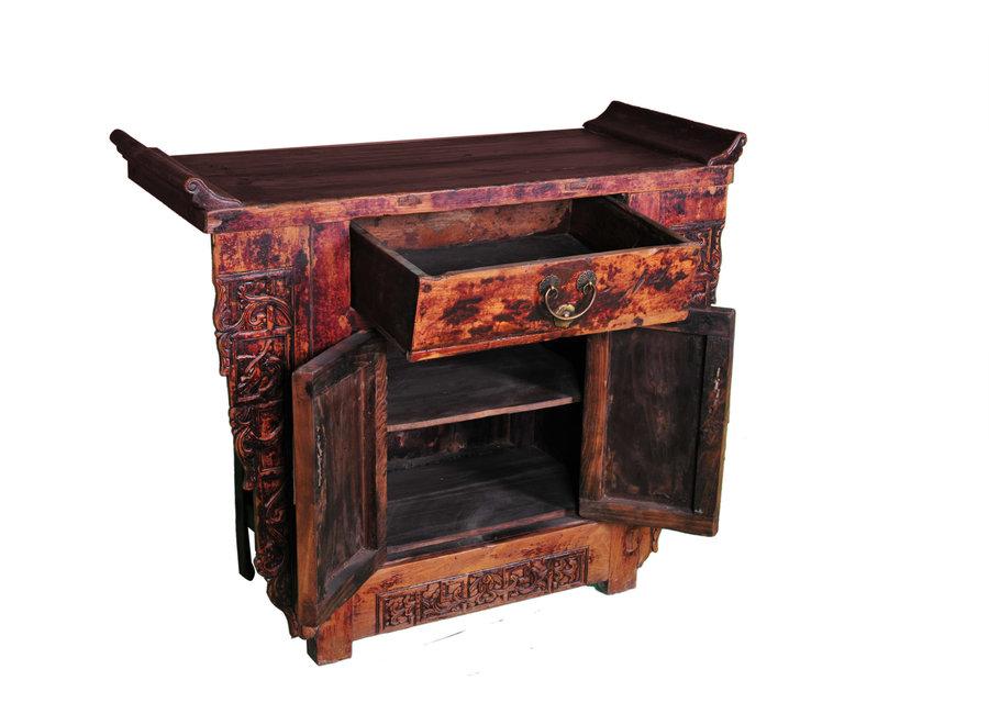 Fine Asianliving Antiker Chinesischer Schrank Handgeschnitzt B110xT43xH91cm