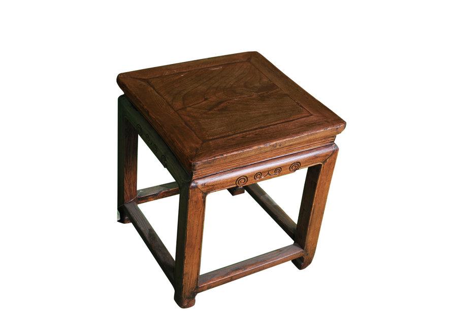 Fine Asianliving Antiker Chinesischer Hocker Holz B43xT43xH48cm