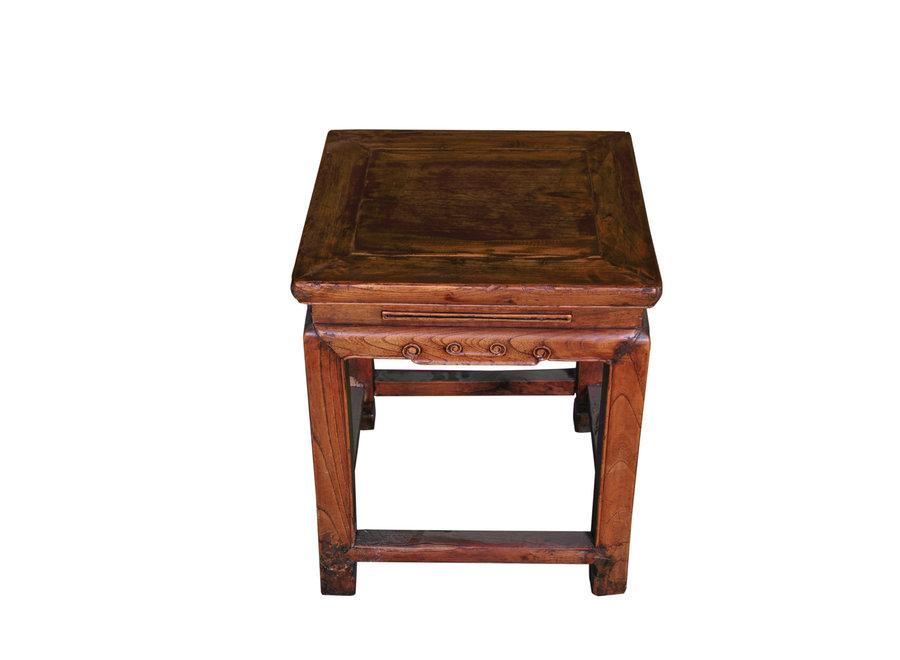 Antiker Chinesischer Hocker Holz B43xT43xH48cm