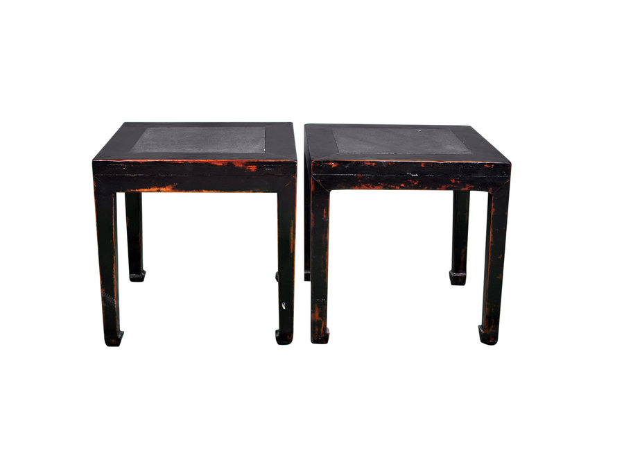 Fine Asianliving Antique Chinese Sidetable Marble Top Set/2 W80xD80xH50cm
