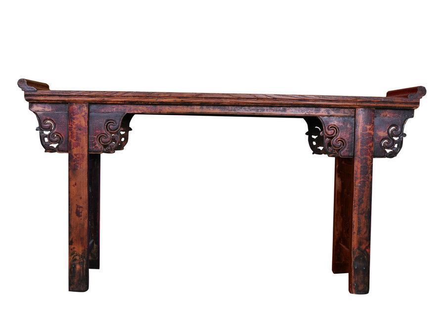 Fine Asianliving Antiker Chinesischer Altartisch Konsolentisch Handgeschnitzt B182xT46xH96cm